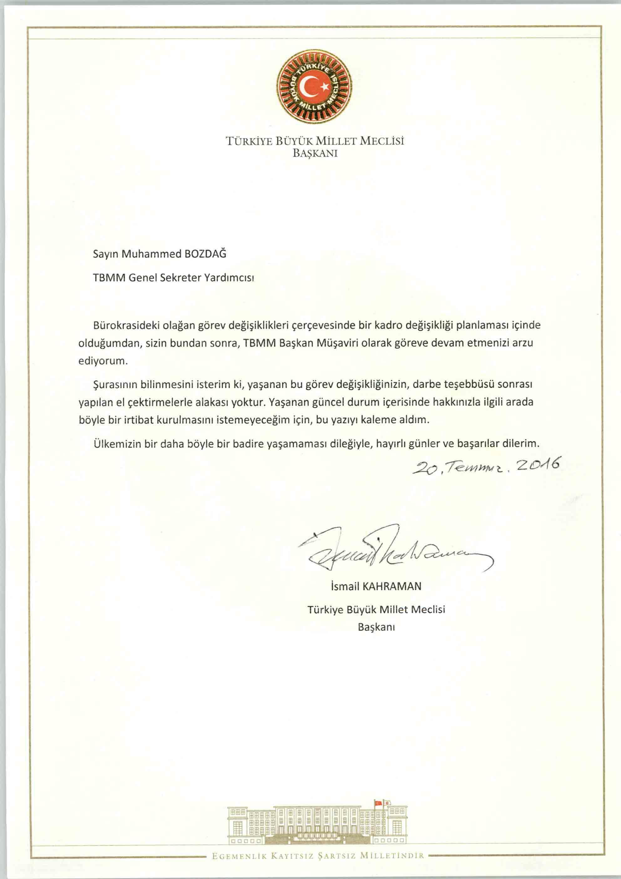 TBMM Başkanı Sayın İsmail Kahraman'ın habere konu yazısı...